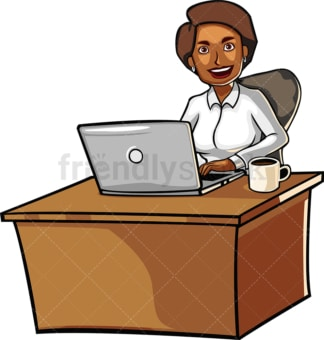 Happy black woman working with laptop. PNG - JPG and vector EPS file formats (infinitely scalable). Image isolated on transparent background.