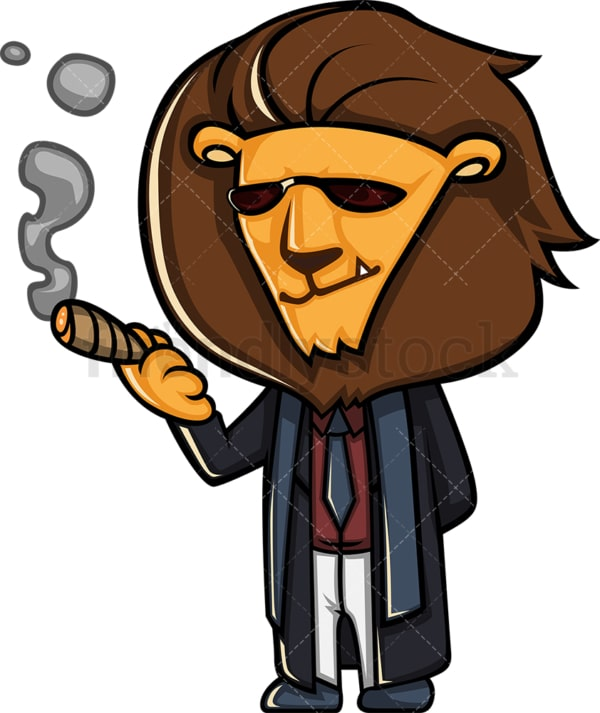 Boss lion smoking cigar. PNG - JPG and vector EPS (infinitely scalable).