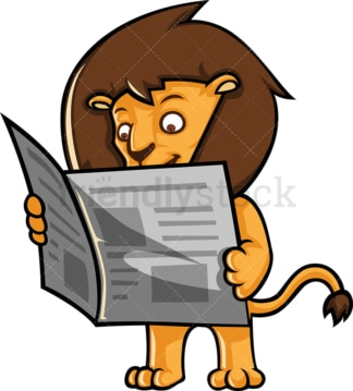 Lion reading newspaper. PNG - JPG and vector EPS (infinitely scalable).
