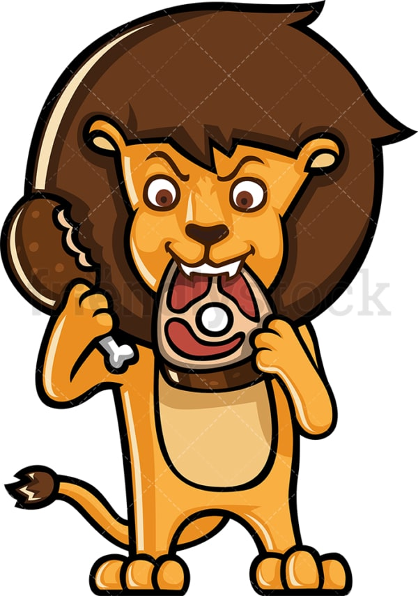 Lion eating meat. PNG - JPG and vector EPS (infinitely scalable).