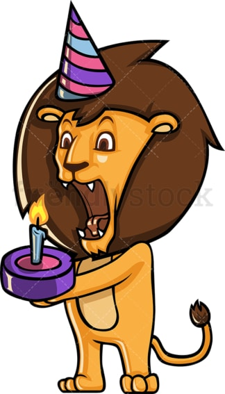 Lion having a birthday party. PNG - JPG and vector EPS (infinitely scalable).