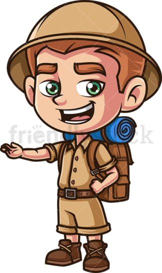 Little boy explorer talking. PNG - JPG and vector EPS (infinitely scalable).