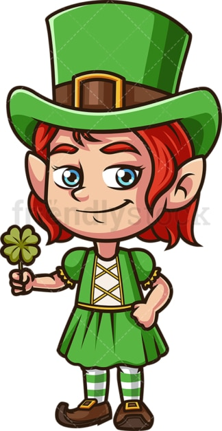 Little girl leprechaun. PNG - JPG and vector EPS (infinitely scalable).