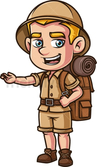 Male safari explorer presenting. PNG - JPG and vector EPS (infinitely scalable).