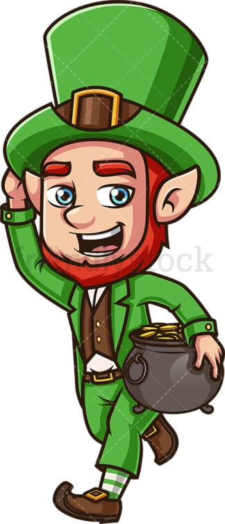 Running leprechaun. PNG - JPG and vector EPS (infinitely scalable). Image isolated on transparent background.