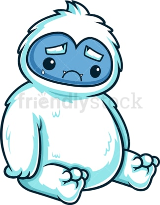 Sad yeti monster. PNG - JPG and vector EPS (infinitely scalable).