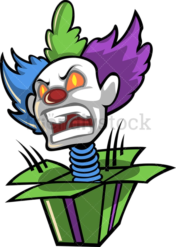 Scary clown head surprise box. PNG - JPG and vector EPS (infinitely scalable).