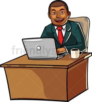 Seated black man working with laptop. PNG - JPG and vector EPS file formats (infinitely scalable). Image isolated on transparent background.