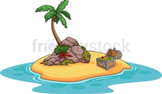 Small island with treasure chest. PNG - JPG and vector EPS (infinitely scalable).