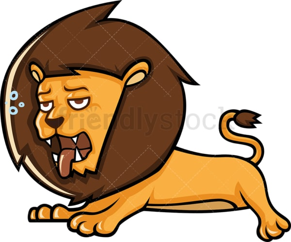 Tired lion laying down. PNG - JPG and vector EPS (infinitely scalable).