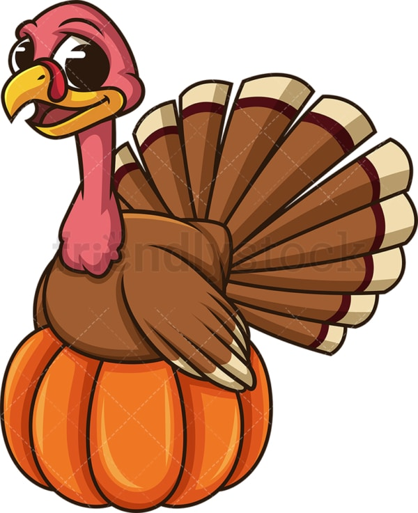 Turkey sitting on a pumpkin. PNG - JPG and vector EPS (infinitely scalable).