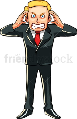 Upset businessman. PNG - JPG and vector EPS file formats (infinitely scalable). Image isolated on transparent background.