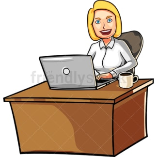 Woman behind desk with laptop. PNG - JPG and vector EPS file formats (infinitely scalable). Image isolated on transparent background.