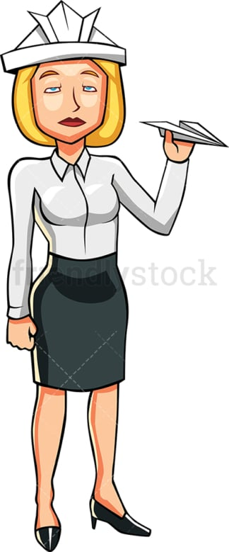 Woman trying to escape her boredom. PNG - JPG and vector EPS file formats (infinitely scalable). Image isolated on transparent background.