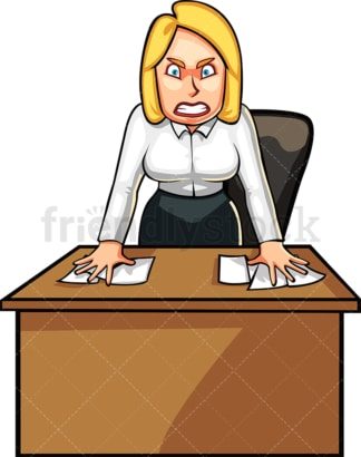 Angry businesswoman behind desk. PNG - JPG and vector EPS file formats (infinitely scalable). Image isolated on transparent background.
