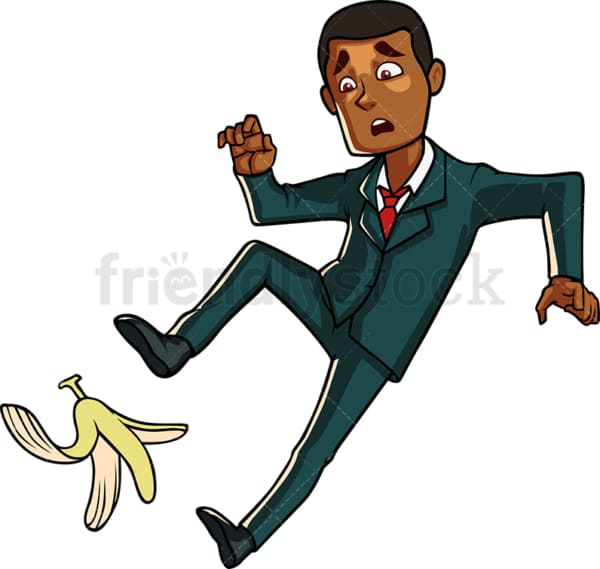 Black business man slipping on a banana. PNG - JPG and vector EPS file formats (infinitely scalable). Image isolated on transparent background.