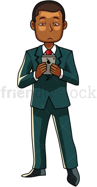 Black business man using smartphone. PNG - JPG and vector EPS file formats (infinitely scalable). Image isolated on transparent background.