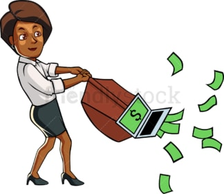 Black businesswoman sucking in cash. PNG - JPG and vector EPS file formats (infinitely scalable). Image isolated on transparent background.
