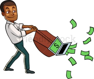 Black internet marketer pulling cash. PNG - JPG and vector EPS file formats (infinitely scalable). Image isolated on transparent background.