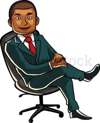Black male professional on a chair. PNG - JPG and vector EPS file formats (infinitely scalable). Image isolated on transparent background.