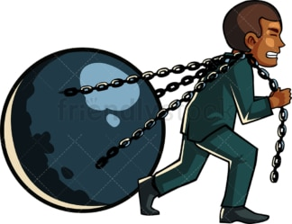 Black man pulling a huge ball on chains. PNG - JPG and vector EPS file formats (infinitely scalable). Image isolated on transparent background.