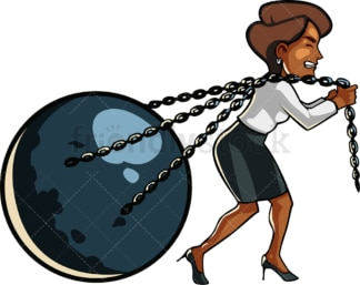 Black woman bound with chains. PNG - JPG and vector EPS file formats (infinitely scalable). Image isolated on transparent background.