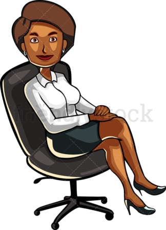 Black woman sitting in an office chair. PNG - JPG and vector EPS file formats (infinitely scalable). Image isolated on transparent background.