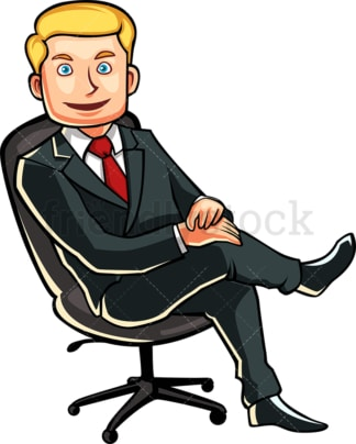 Business man in office chair. PNG - JPG and vector EPS file formats (infinitely scalable). Image isolated on transparent background.