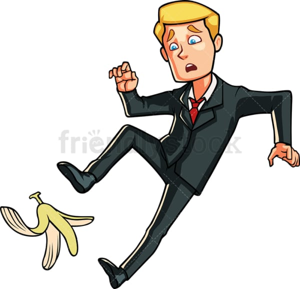 Business man slipping on a banana peel. PNG - JPG and vector EPS file formats (infinitely scalable). Image isolated on transparent background.