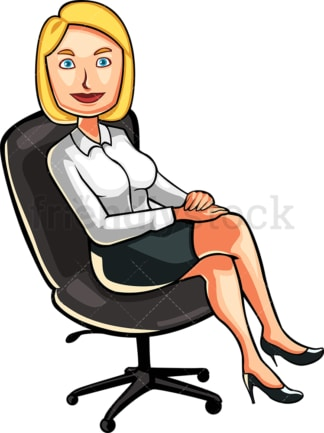 Business woman in office chair. PNG - JPG and vector EPS file formats (infinitely scalable). Image isolated on transparent background.