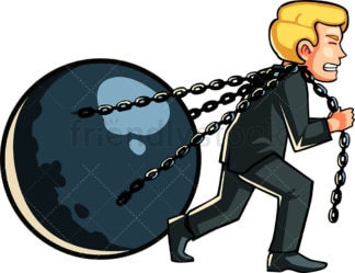 Businessman pulling ball with chains. PNG - JPG and vector EPS file formats (infinitely scalable). Image isolated on transparent background.