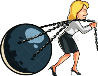 Businesswoman pulling metal ball. PNG - JPG and vector EPS file formats (infinitely scalable). Image isolated on transparent background.