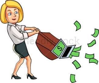 Businesswoman using vacuum cleaner to pull cash. PNG - JPG and vector EPS file formats (infinitely scalable). Image isolated on transparent background.