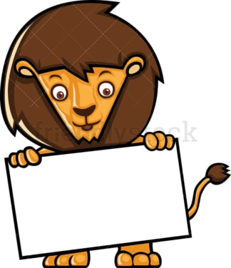 Cute lion holding blank sign. PNG - JPG and vector EPS (infinitely scalable).