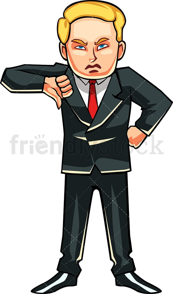 Disappointed businessman thumbs down. PNG - JPG and vector EPS file formats (infinitely scalable). Image isolated on transparent background.