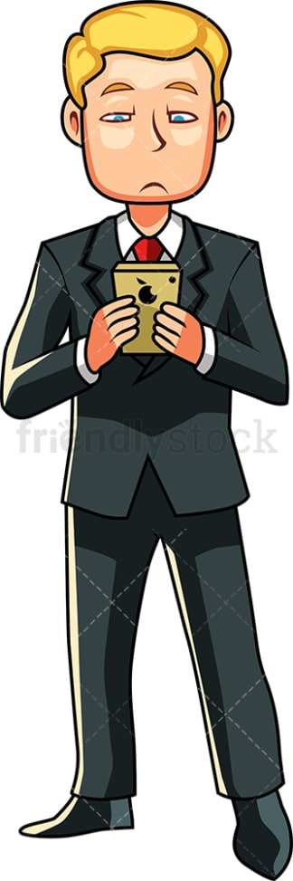 Dull businessman using smartphone. PNG - JPG and vector EPS file formats (infinitely scalable). Image isolated on transparent background.