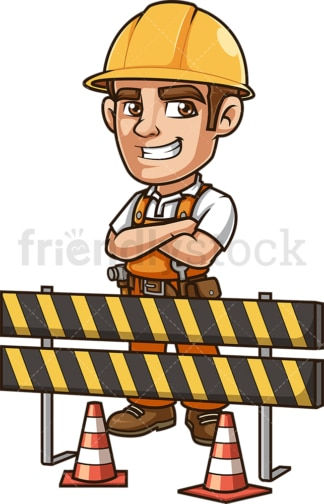 Engineer behind construction site roadblock. PNG - JPG and vector EPS (infinitely scalable).