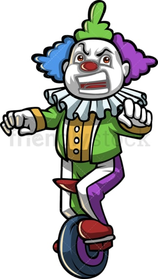 Grumpy clown on unicycle. PNG - JPG and vector EPS (infinitely scalable).