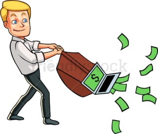 Internet entrepreneur pulling cash. PNG - JPG and vector EPS file formats (infinitely scalable). Image isolated on transparent background.