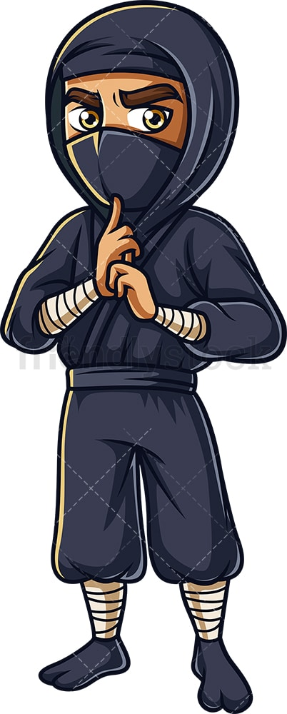 Japanese ninja concentrating. PNG - JPG and vector EPS (infinitely scalable).