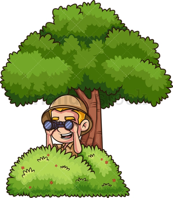 Jungle explorer hiding behind bush. PNG - JPG and vector EPS (infinitely scalable).