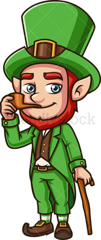 Leprechaun with smoking pipe. PNG - JPG and vector EPS (infinitely scalable). Image isolated on transparent background.