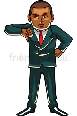 Let down black businessman thumbs down. PNG - JPG and vector EPS file formats (infinitely scalable). Image isolated on transparent background.