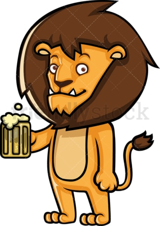 Lion character drinking beer. PNG - JPG and vector EPS (infinitely scalable).