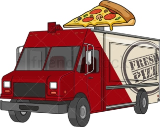 Pizza food truck. PNG - JPG and vector EPS file formats (infinitely scalable). Image isolated on transparent background.