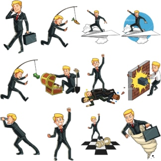 9 business themed vector images of a caucasian businessman. PNG - JPG and vector EPS file formats (infinitely scalable). Images isolated on transparent background.
