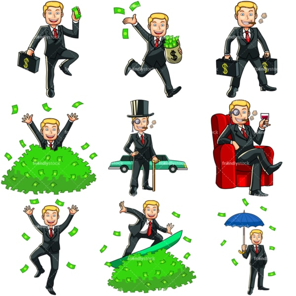 9 money cartoon images of a wealthy man. PNG - JPG and vector EPS file formats (infinitely scalable). Images isolated on transparent background.