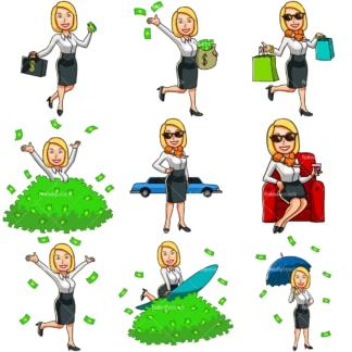9 money cartoon images of a wealthy woman. PNG - JPG and vector EPS file formats (infinitely scalable). Images isolated on transparent background.