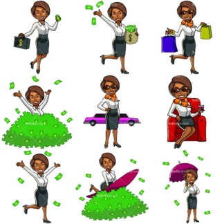 9 money clipart images of a rich black woman. PNG - JPG and vector EPS file formats (infinitely scalable). Images isolated on transparent background.