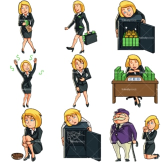 9 money themed vector images of a businesswoman. PNG - JPG and vector EPS file formats (infinitely scalable). Images isolated on transparent background.